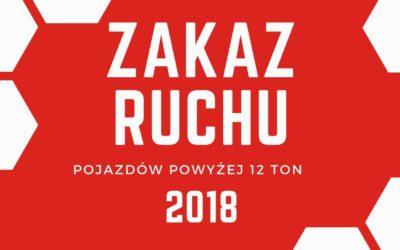Ograniczenia w ruchu pojazdów w 2018 powyżej 12 ton.